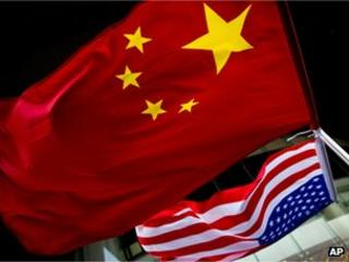 Chinese and US flags