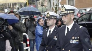 Italian marines Salvatore Girone (left) and Massimiliano Latorre, arrive at a military prosecutor's office in Rome on Wednesday 20 March 2013