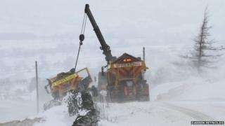 Gritter rescued by crane in Lancashire
