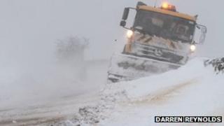 Snow plough stuck in Lancashire. Photo: Darren Reynolds