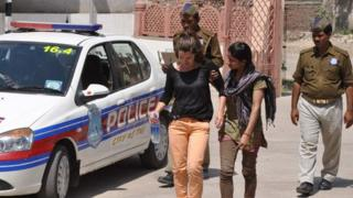Jessica Davies with Indian police