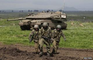 Israeli soldiers in the Golan Heights, 5 March