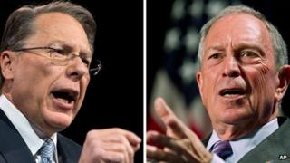 NRA's Wayne LaPierre (left) and New York Mayor Michael Bloomberg (right)