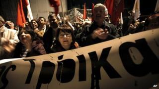 Protesters in Nicosia