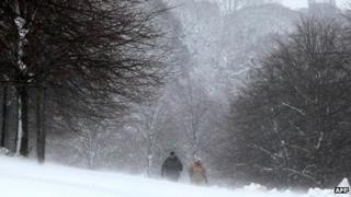 Walkers in snow in Bakewell