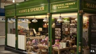 Marks and Spencer stall in Kirkgate Market, Leeds