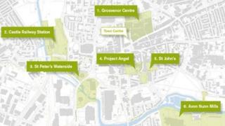 Map of Northampton's 'big six' regeneration projects