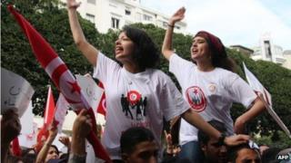 women protesters in tunisia