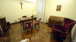 Suite in Domus Santa Marta hotel-style residence which the new Pope Francis has opted to remain in rather than move to more lavish quarters in the Apostolic Palace