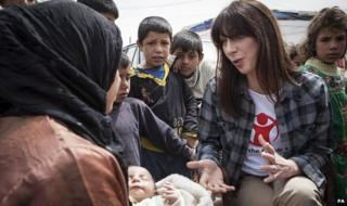 Samantha Cameron at a refugee camp for Syrians in Lebanon