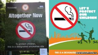 The old and new smokefree signs for Blackpool parks