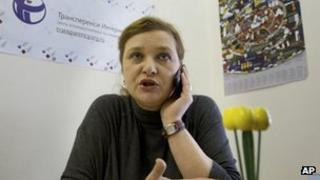 Transparency International's Yelena Panfilova in her Moscow office. Photo: 27 March 2013