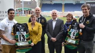 Northampton Saints players with new branded shirts