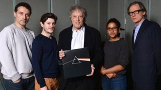 Sir Tom Stoppard, with album, flanked by (l to r) Rufus Sewell, Iwan Rheon, Amaka Okafor and Bill Nighy