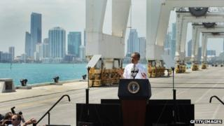 President Barack Obama speaks during an event at PortMiami on 29 March 2013