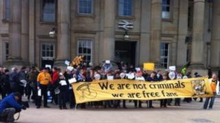 Fans outside the railway station in Huddersfield