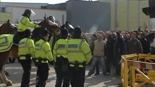 Police and fans at Home Park