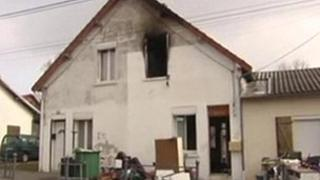 House in Saint-Quentin damaged by fire (31 Mar 2013)