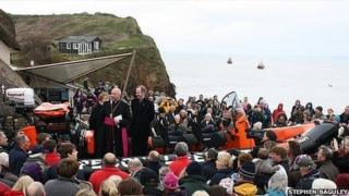 The new lifeboat and the Right Reverend John Ford (Pic: Stephen Baguley)