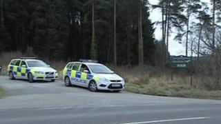 Police at the site near Okehampton