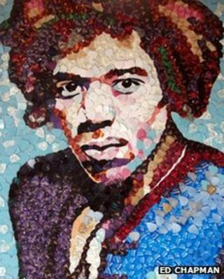 A new portrait of Jimi Hendrix - made from 4,000 Fender plectrums