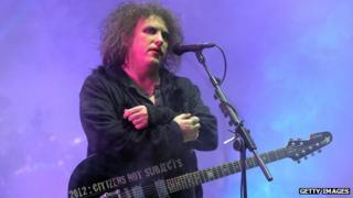 Robert Smith, lead singer for The Cure, on stage in France, July 2012