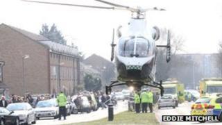 Emergency teams at crash scene