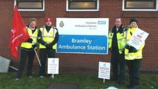 Striking ambulance workers in Leeds