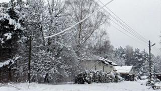 Wintry scene in village near Warsaw, 1 Apr 13