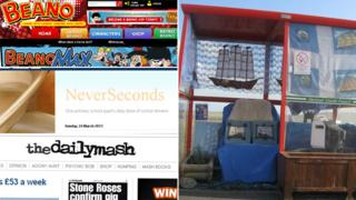 Beano, Unst bus shelter, the Daily Mash and NeverSeconds websites