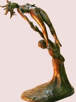 Stolen bronze statue
