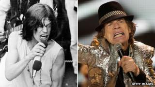 Mick Jagger in 1969 and in 2012, performing at London's O2 arena