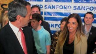 Mark Sanford thanks his fiancee Maria Belen Chapur as he addresses supporters in Mount Pleasant, South Carolina, on 2 April 2013