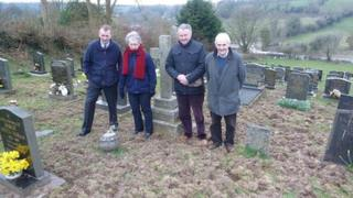 Simon Hart MP (left) with concerned local residents at St Martin's Church cemetery in Laugharne
