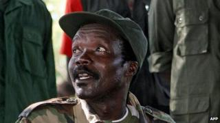 "A file photo taken on November 12, 2006, shows the leader of the Lord""s Resistance Army (LRA), Joseph Kony, answering journalists"" questions"