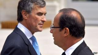 Jerome Cahuzac (left) and Francois Hollande (right), pictured together in July 2012