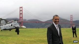 President Barack Obama before boarding Marine One near the Golden Gate Bridge in San Francisco, California, on 4 April 2013