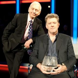 Mastermind presenter John Humphrys with this year's winner Aidan McQuade