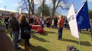 Campaigners stage protest in Cheltenham against plans to reduce services at the town's A&E