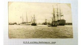 Post card showing the HMS Victory docked in Portsmouth