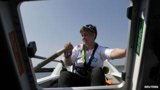 Sarah Outen on board her boat