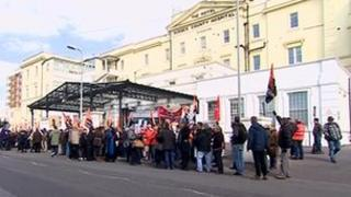 Protesters outside hospital