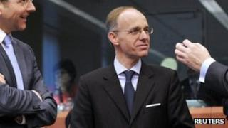 Luc Frieden pictured at the meeting of eurozone finance ministers in March