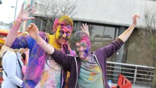 Revellers at the Festival of Colour in Custom House Square