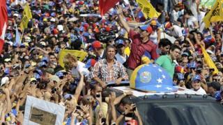 Henrique Capriles at Caracas march