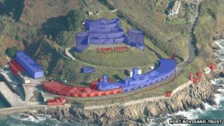 Artist impression showing housing (shaded blue) and residencies (red)