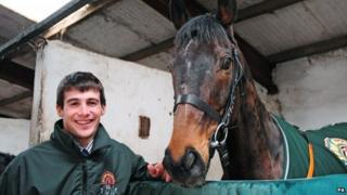 Auroras Encore in his stable with winning jockey Ryan Mania