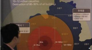 A man looks at the display showing possible damage if a 1 megaton class nuclear weapon is detonated in Seoul, at the Korea War Memorial Museum in Seoul, South Korea, Tuesday, April 2, 2013.