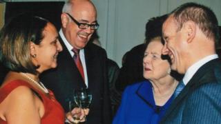 Marina Yannakoudakis (left), Lady Thatcher (right), Mike Freer (far right)