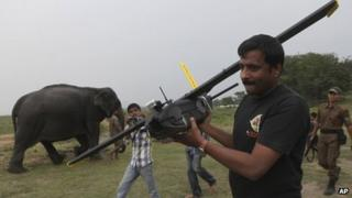 A WWF official carries a drone before flying it at the Kaziranga National Park in Assam on Monday, April 8, 2013